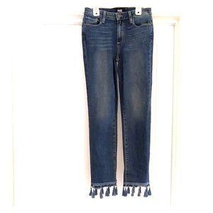 Paige Jacqueline straight blue jeans tassels sz26